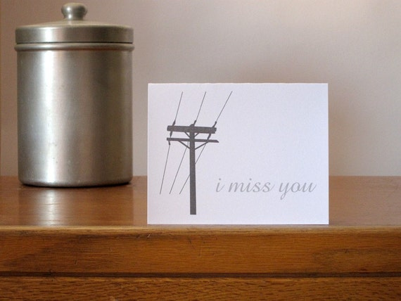 I Miss You note card