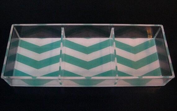 Turquoise/White Chevron Stripe Lucite Tray