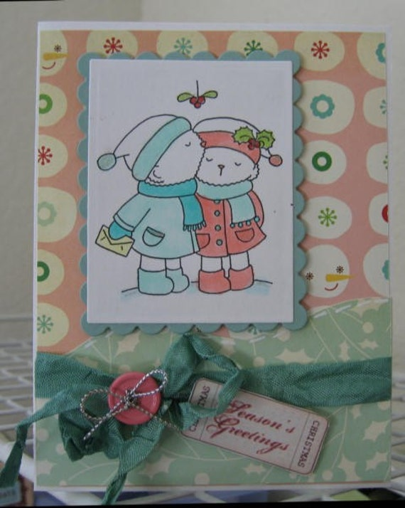 SEASONS GREETING SWEET PAIR OF SNOWMEN HANDMADE CARD