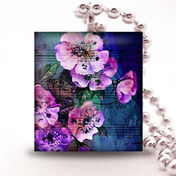 Scrabble Tile Pendant - PURPLE FLOWERS WATERCOLOR - Buy 2 Pendants Get 1 Free
