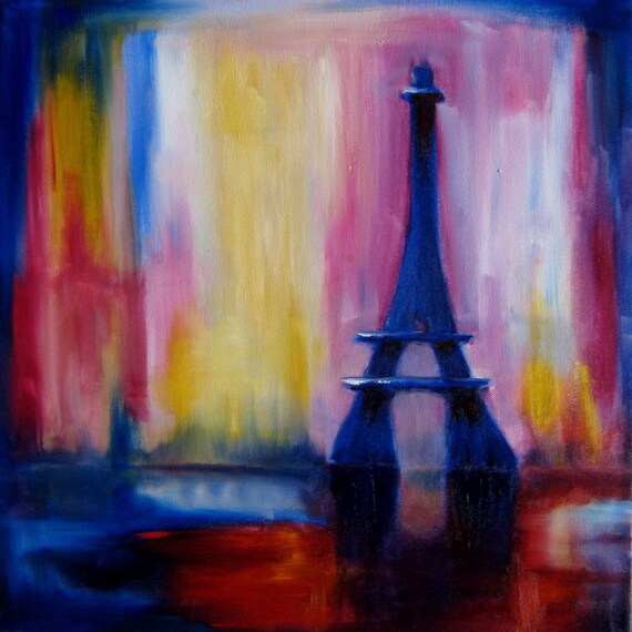 A Dream of Paris - 14x14 inch Original Abstract Oil Painting
