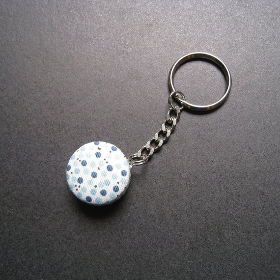 Blue Polka Dots Key Chain by dorothywyn on Etsy