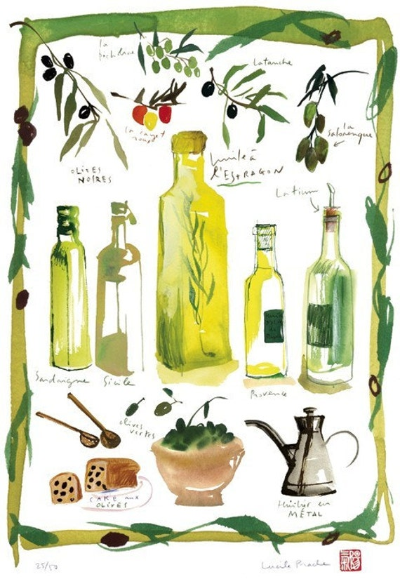 Kitchen illustration - Olives and olive oil - Limited edition print No 16/50 - Food art - The kitchen collection