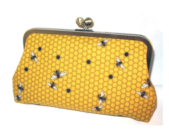 Hive in Mustard lined with Silk - Clutch Purse Bag
