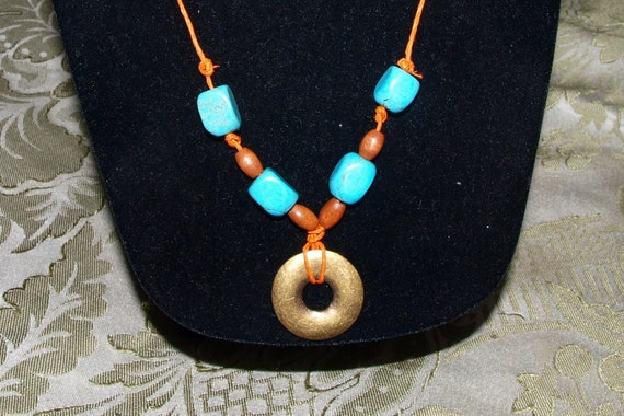 Turquoise - Metal Donut Necklace