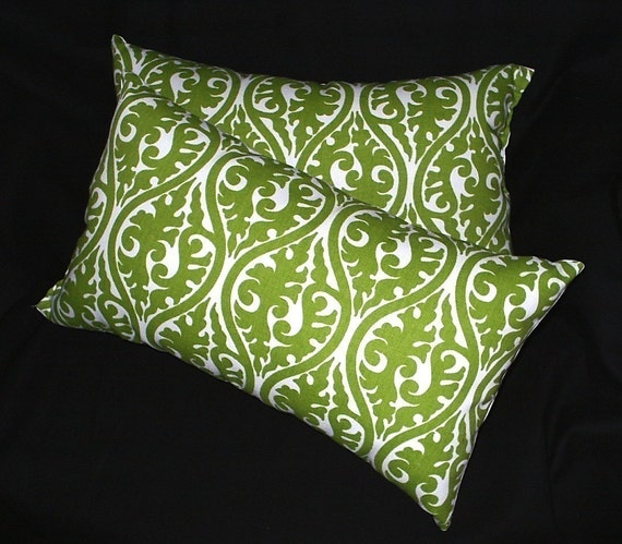 2 Bright Green Damask Print Scroll Fabric Pillows