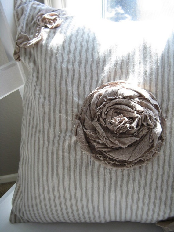 The Emilia - Taupe and Cream Ticking Rosette Embellished Pillow Cover