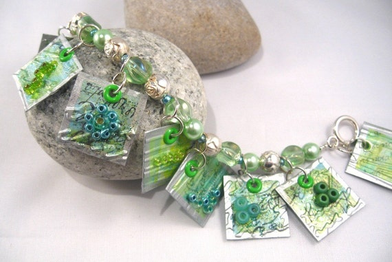 Blue/Green Bracelet with paper charms