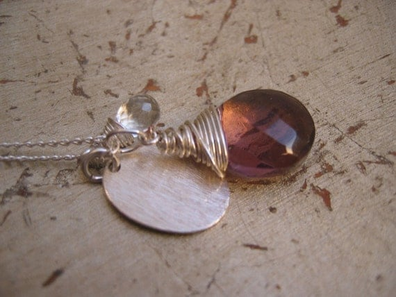 Sterling silver necklace - with large amethyst gem briolette, tiny quartz gem briolette and sterling silver charm trio - RIVKE by Amore Valkyrie on Etsy