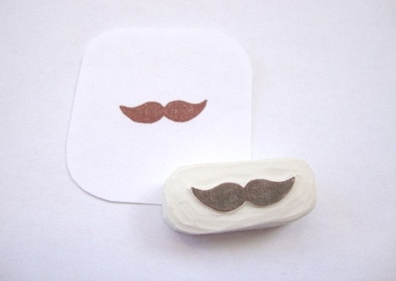 Cute Little Mustache Hand Carved Rubber Stamp