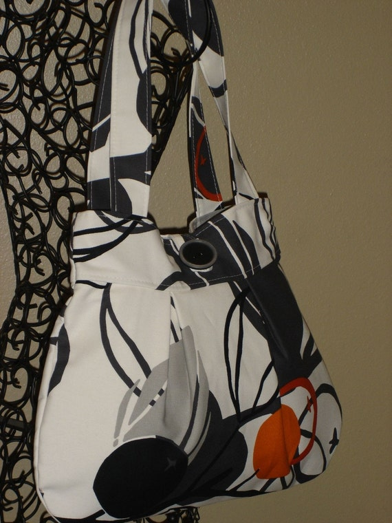 Medium Modern Print Shoulder Bag / Gray/Black and Orange
