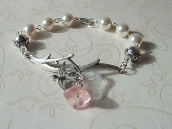 Silver Branch and White Pearl Bracelet