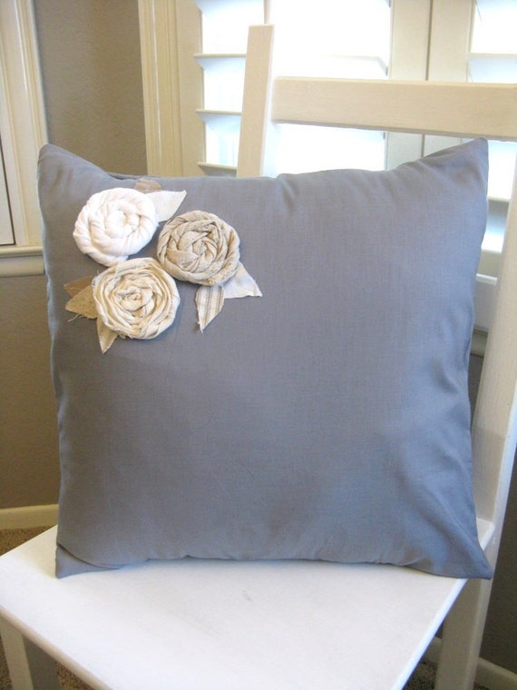 The Katarina - Blue Grey Pillow Cover with Upcycled White, Oatmeal, Cream Rosettes
