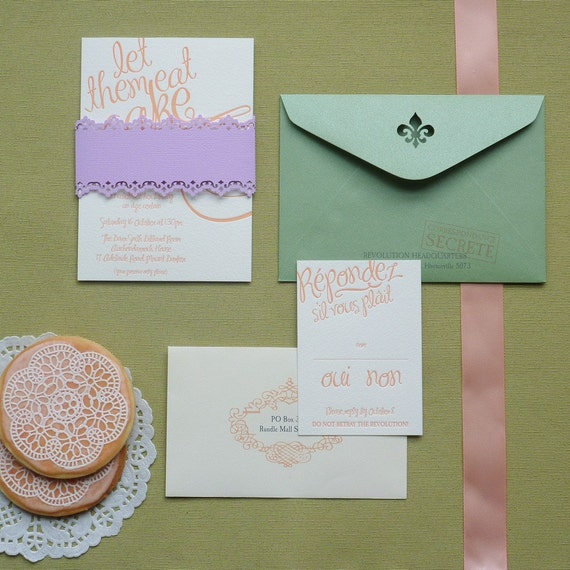 Marie 'Let them eat cake' invitation suite