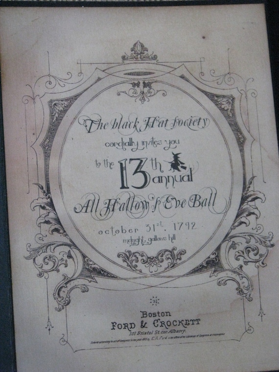 Invitation to the All Hallow's Eve Ball Black Hat Society Halloween vintage inspired