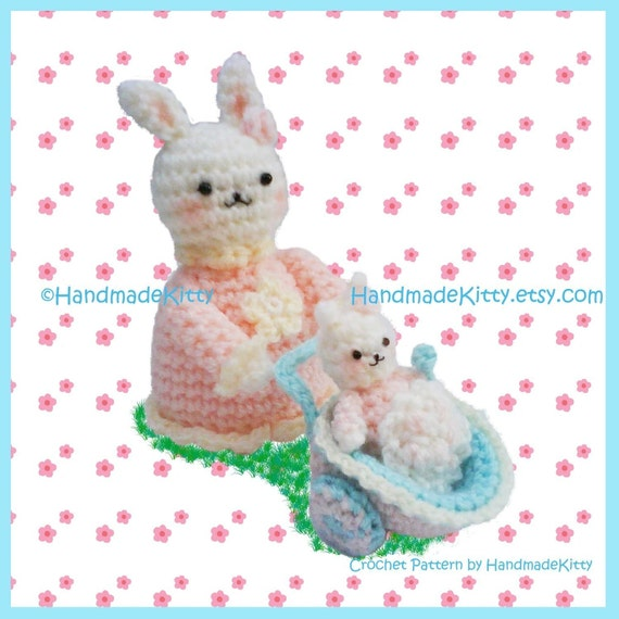 Mommy Bunny with Baby Bunny in Baby Carriage Amigurumi PDF Crochet Pattern