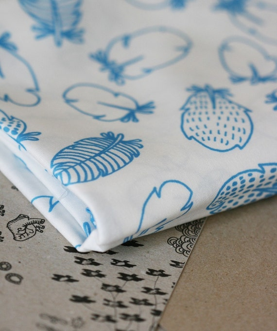 Feathers Fabric - Marine Blue - Half Yard