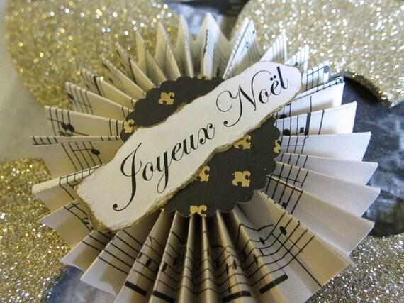 Paris Chic Gold Glitter FLEUR DE LIS Christmas Ornament Christmas Decoration
