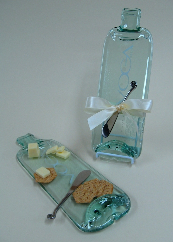 Italian Flattened Wine Bottle Cheese Board Voga - Upcycled Recycled Eco Friendly Glass