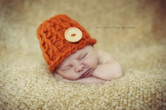 Pumpkin Spice-Market Knit Hat with Wood Button
