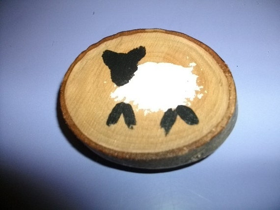Sheep Magnet Folk Art Painted Sheep on Cherry Wood