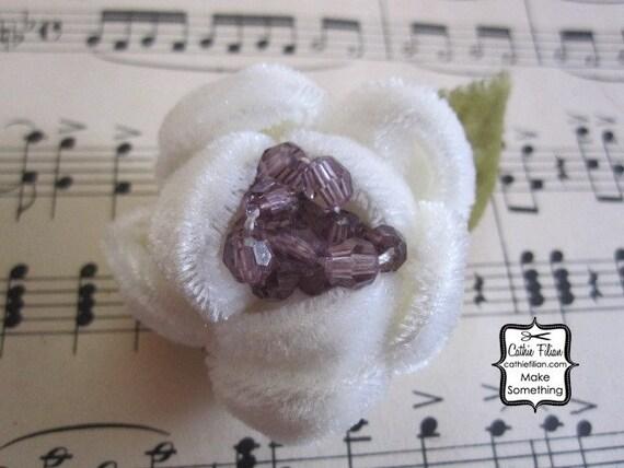 Свадебный белый - из бисера Бархатный цветок - шелк, Дамских, Измененные Couture, волос Цветы, Pin