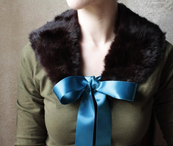 Dark Chocolate and Teal- Genuine Fur Necktie with Teal Ribbon