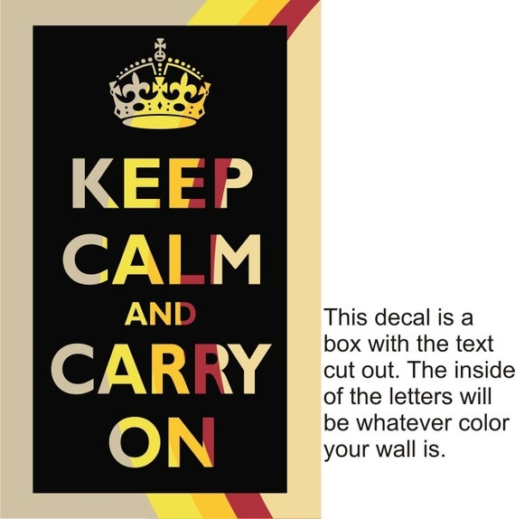 Keep Calm and Carry on Vinyl Wall Decal Poster