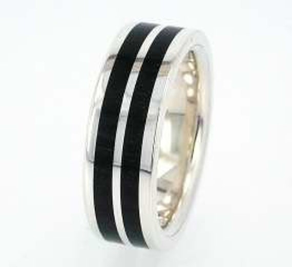 African Blackwood Wood inlaid in Sterling Silver Wedding Band