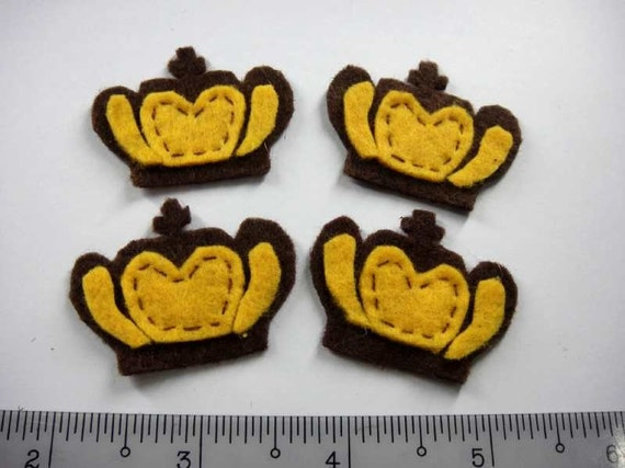 Felt Applique - CROWN - 4 PCS - Handmade
