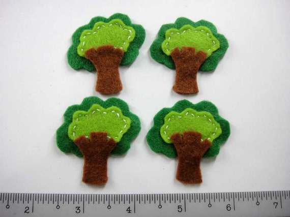 Felt Applique - TREE - 4 PCS - Handmade