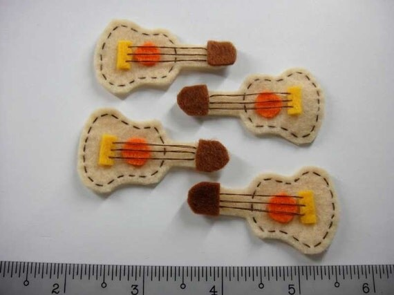 Felt Applique - GUITAR - 4 PCS - Handmade