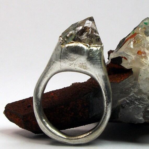 Silver Ring Herkimer Diamond Crystal Gem Organic Handmade