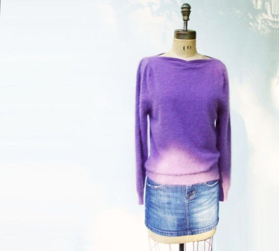 Softest 80s Mauve Angora Sweater Sz M