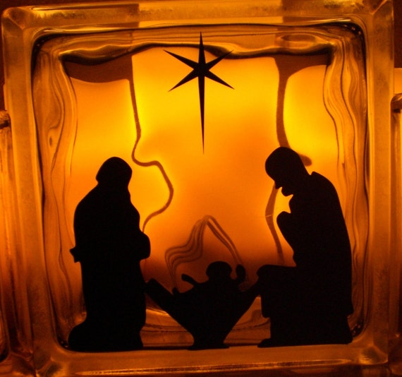 Glass Block Center Nativity Scene