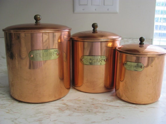 Vintage Copper Color Metal  Canisters
