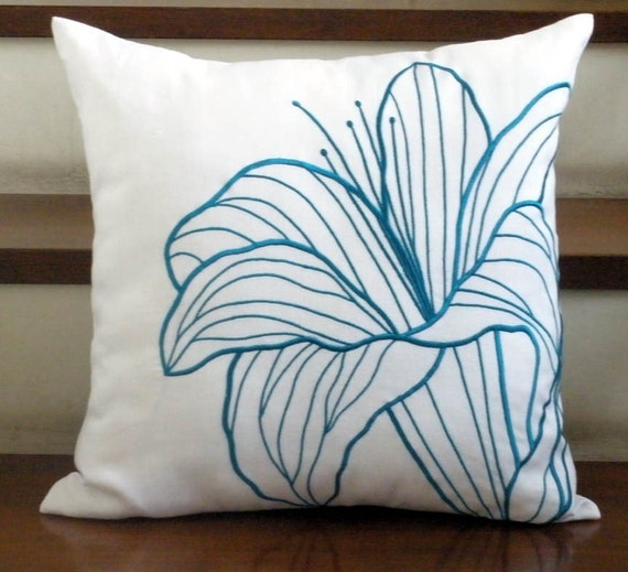 "Deep Turquoise Lily - Throw Pillow Cover - 18"" x 18"" White Linen Pillow Cover with Floral Embroidery"