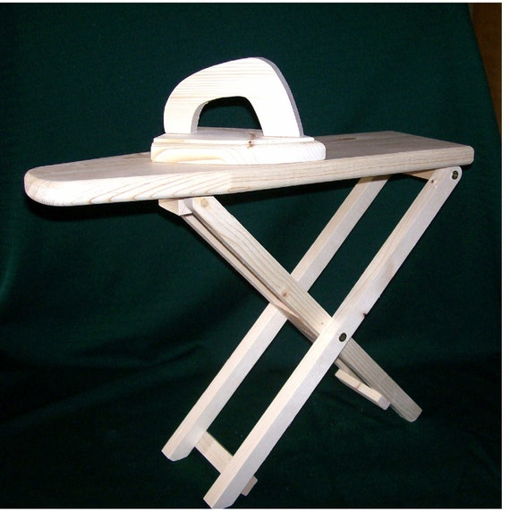 Ironing board and iron doll size wood toy
