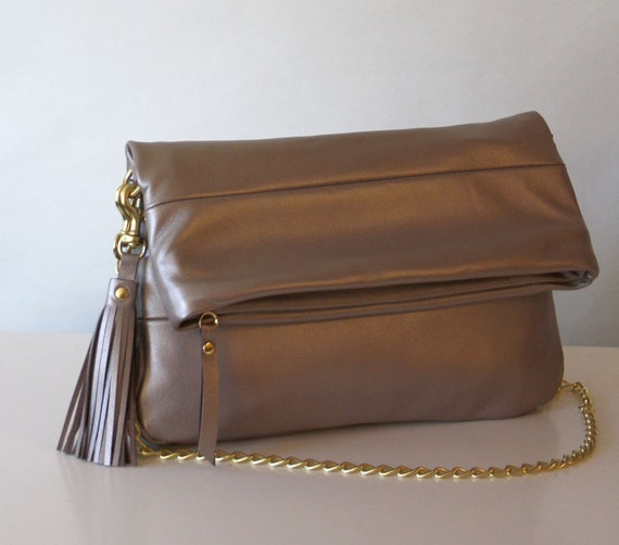 Leather Purse - OPELLE Fold-Over Clutch Bag - Warmed Silver Lambskin w Gilt Chain - Ready to Ship