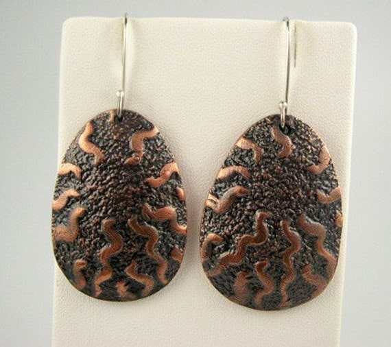 Copper Earrings, Waves, Patina, BAO ITEM OF THE WEEK
