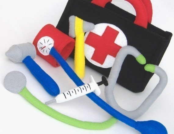 Be a Doctor Set  PDF Toy Pattern- Doctor Bag, Stethoscope, Blood Pressure Cuff, Reflex Mallet, Auriscope, Syringe