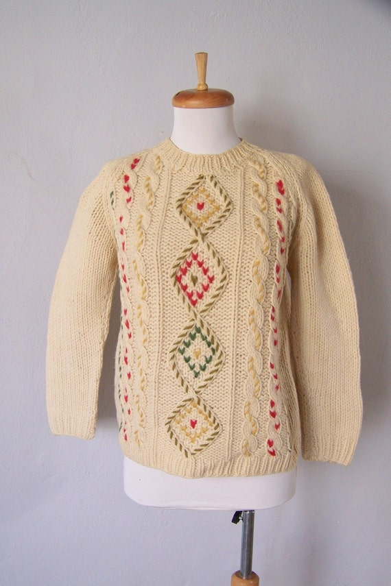 New Year  HALF PRICE 60s VERY Rare  wool cable knit  sweater