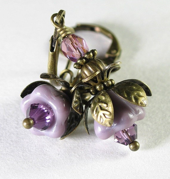 Lilac and Amethyst Vintage Style Flower Earrings
