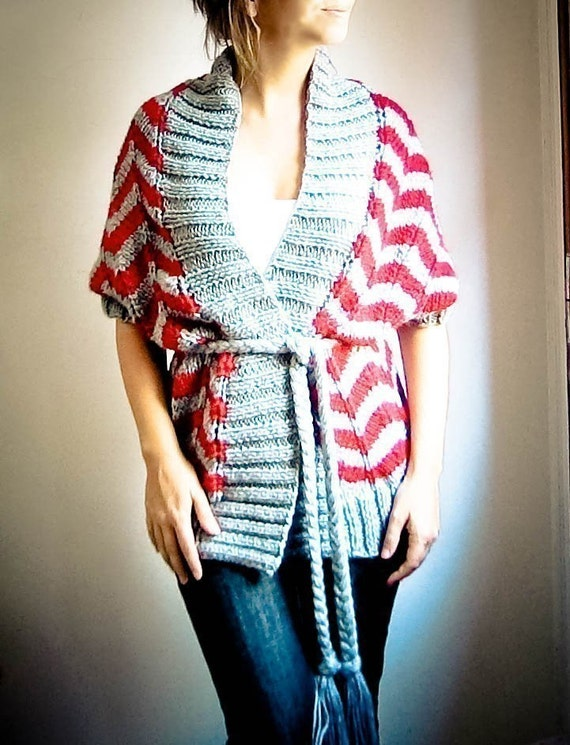 ZIG ZAG hand knit cardigan vest in grey and red