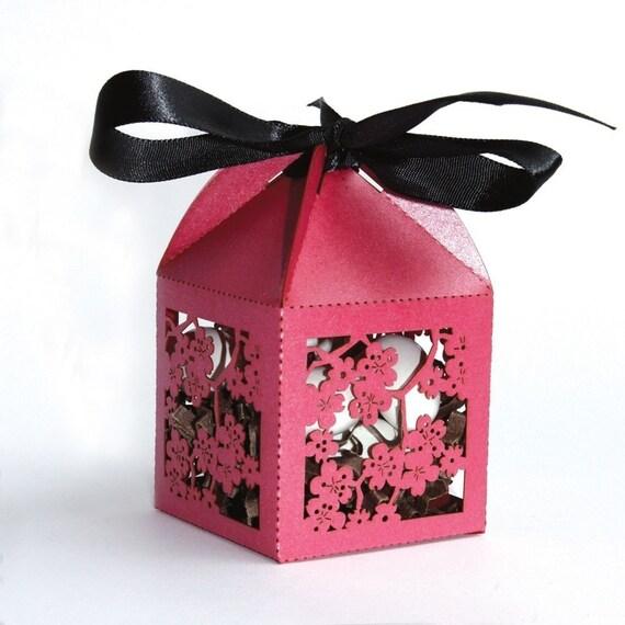 Favor Box laser cut cherry blossom design