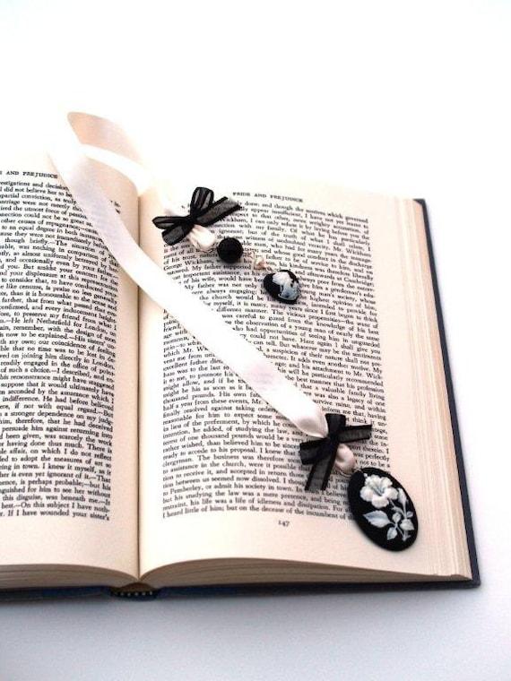Cameo and Satin Ribbon Bookmark
