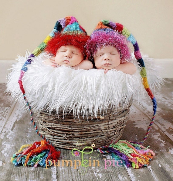 Original Designer Funky  - One TICKLES Rainbow Munchkin Hat - Newborn Baby Stocking Cap - Multicolor PROP - OOAK -  Custom knit to Order - Fuzzy Furry Brim - Rainbow Wide Stripes - Funky Fat Multi Fiber Tassle - Pick Your Own Colors - Create Your Theme