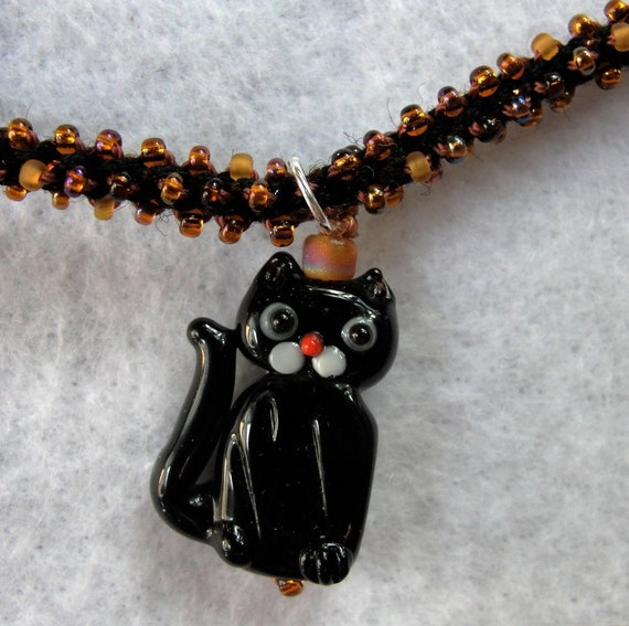 Earthtone kitty beaded necklace sterling silver