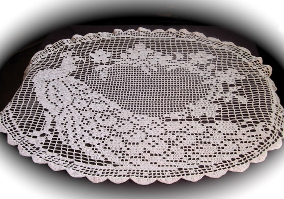 Crochet Oval Tablecloth Pattern Design Patterns