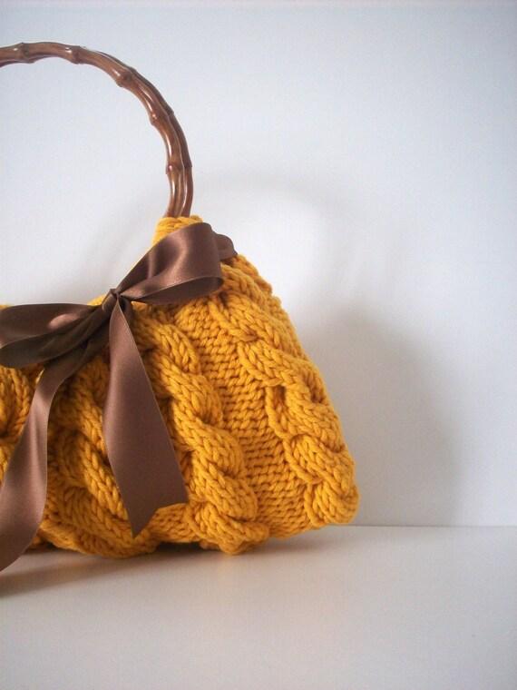 کیف شانه ، کیف دستی هر روز Knitted کیسه زرد Nr.0100